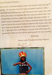 Annikah Mishra letter to President Obama