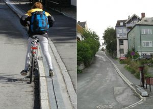 Bike escalator in Norway
